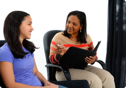 counselor counselling the young lady